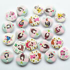 20/50/100pcs Wood Buttons Lovely Girls Round 2 Holes Sewing Accessories Craft