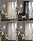 Luxurious Quality SINGLE FLOCK DAMASK EYELET RING TOP DOOR CURTAIN PANEL 140 X 2