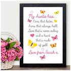 My Auntie Has PERSONALISED Keepsake Poem Christmas Gifts Aunt Aunty Xmas for Her