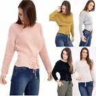 Womens Ladies Long Sleeve Lace Tie Up Scoop Neck Knitted Jumper Sweatshirt Top