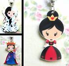 DISNEY VILLAINS CHARM NECKLACE ACRYLIC CRUELLA DE VIL WICKED QUEEN OF HEARTS