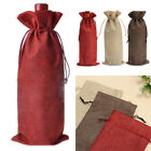 5/10pcs Hessian Wine Bottle Bags Cover Gift Wedding Party Favours Decor 15x35cm