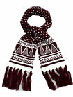 Ladies Acrylic Dark  Red Aztec Design Scarves.Christmas Gift Idea.