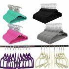 10Pk NON SLIP FLOCKED COAT CLOTHES HANGERS VELVET TROUSER HANGING SPACE SAVING