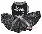 Halloween Boo Black Cotton Top Black Silver Cobweb Tutu Pet Dog Puppy Dress