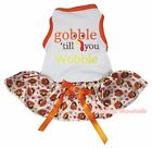 Gobble Till You Wobble White Cotton Top Orange Turkey Tutu Pet Dog Puppy Dress
