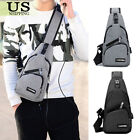 Mens Sling Bag Chest Pack Travel Backpack Crossbody Bag + USB Charging Cable