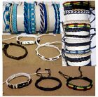 3 BRACELETS ANKLET HEMP FRIENDSHIP BRAIDED MEN WOMEN BEACH SURF GYPSY HIPPIE NEW
