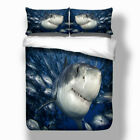 Shark Duvet Doona Quilt Covers Set Queen King Size Animal Bed PillowCases Fishes