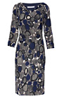Gina Bacconi Navy Grey Dress With Sleeves 8067