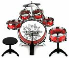 LOT 11pc Kids Boy Girl Drum Set Musical Instrument Toy Playset Black Blue Red AL