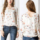 New Fashion Women Chiffon Blouse Bird Print Long Sleeve Casual Slim Shirts Tops