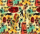 International Exotic James Bond Red Yellow Fabric Printed by Spoonflower BTY $30.54 CAD