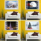 1pc Xmas Christmas Broad Removable 3D Santa Window To the heart Decor Sticker Exasperate Decal