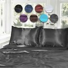 1000TC Silk Satin Single/KS/Double/Queen/King Fitted, Flat Pillowcase Sheet Set