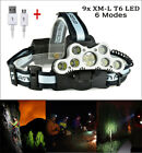 100000LM 9xT6 LED Headlamp USB Rechargeable Head light Torch Lamp Super Bright