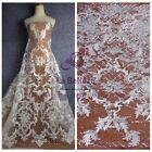Hot fashion style off white cord sequins emboidery lace fabric for dress fabric