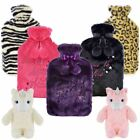 LUXURY Hot Water Bottle Removable Fleece Soft Faux Fur Novelty Animal Knitted