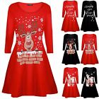 Womens Ladies Novelty Santa Reindeer Wall Snowflake Costume Christmas Xmas Dress