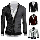 Mens V Neck Slim Fit Sweater Casual Button Cardigan Long Sleeve Jacket Coat Tops