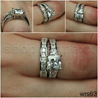 PRINCESS WITH EMERALD CUT STONES STERLING SILVER ENGAGEMENT & WEDDING RING SET