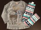 NWT Gymboree Girl Mix'n'Match Grey Deer Tee & Heart Leggings Outfit 4 5 6 7 8