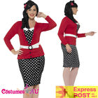 Ladies Curves 50s Pin Up Costume Rock n Roll Vintage Retro 1950s Plus Size Dress