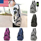 Men Polyester Sling Bags Small Chest Bag Pack Crossbody  Bag With Usb Charging