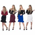 Jolie Max Women Fishtail Pencil Skirt Midi Stretch Bodycon Size8-16 Smart Casual