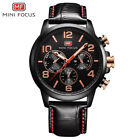 MINI FOCUS Sub-Dial Decoration Men Military Sport Leather 30m Waterproof Watch