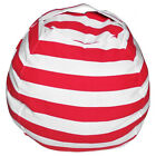 US Kid Stuffed Animal Toy Cotton Bean Bag Storage Pouch Soft Stripe Fabric Chair