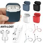 For Apple AirPods Charging Silicone Cover Case+Earphone Anti Lost Strap Rope New