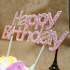 Strass Happy Birthday Cake Topper Kristall Geburtstag Party Blumen Pick 15cm FL