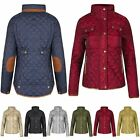 New Ladies Funnel Neck Button Elbow Patch Womens Quilted Padded Warm Jacket Coat