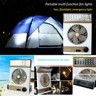 2in1 Solar Power/AC Rechargeable Camping Cool Fan Light Tent LED Outdoor Sport