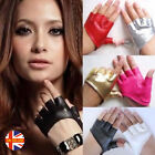 50 Shades Womens Sexy Black Red Half Palm Short Faux Leather Fingerless Gloves