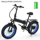 20'' Aluminum Alloy Electric Bike Beach Cruiser Folding  Bicycle Fat Tire LED