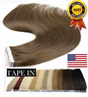 US DOUBLE DRAWN Tape In Real Brazilian Human Hair Extensions 100% HUMAN HAIR