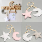 Star & Moon Pendant w/ Wooden Beads for Kids Baby Nursery Room Hanging Decor