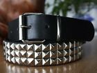 Black Studded Rhinestone Belt For Men Pyramid Punk Style With Classic Pin Buckle
