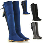 New Womens Over The Knee High Gold Trim Flat Heel Tassel Ladies Stretch Boots