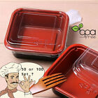 50/100 Black&Red Base Square To-Go Ice Cream Cake Container Box w/ Clear Lid DD