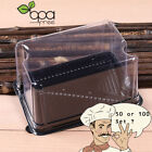 50/100 Black Base Rectangle Take Out Platter Cake Container Box w/ Clear Lid DD