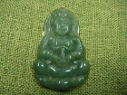 Certified Oily Green Natural A Jadeite Jade Guanyin God Lotus Pendant