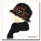 New FASHION WOMEN WINTER WARM KNIT SCARF HAT SET SKI BEANIE / BLACK Q133