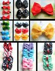 CLIP IN HAIR BOWS DIAMOND FLORAL POLKA DOTS BUTTERFLY RIBBON FABRIC TWO-TONE