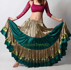 Pewter Deep Teal Olive Green Satin 12 Yard Tiered Gypsy Skirt Belly Dance
