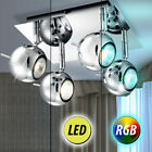 LED Ceiling Lamp Living Room RGB Remote Control Chrome Dimmer Spots Rotatable