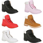 KIDS GIRLS BOYS WINTER WARM LACE UP ANKLE BOOTS ARMY COMBAT TRAINERS SHOES SIZE