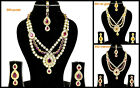 Purple Maroon LCT Gold Stone Bollywood Dance Party 4pcs Necklace Set Christmas